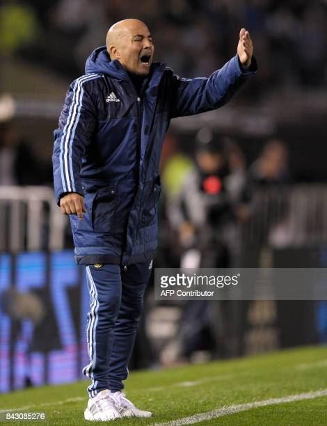 Argentina's coach Jorge Sampaoli gives instructions to his players during the 2018 World Cup qualifier football match against Venezuela in Buenos...