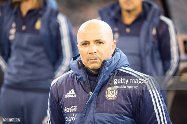 Argentina's Coach Jorge Sampaoli is seen before a friendly football international between Argentina and Brazil at the Melbourne Cricket Ground in...