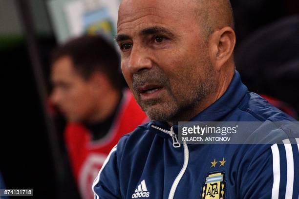 Argentina's coach Jorge Sampaoli looks on ahead of an international friendly football match between Argentina and Nigeria in Krasnodar on November 14...