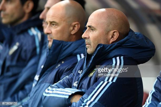 Argentina's coach Jorge Sampaoli looks on before an international friendly football match between Russia and Argentina at the Luzhniki stadium in...