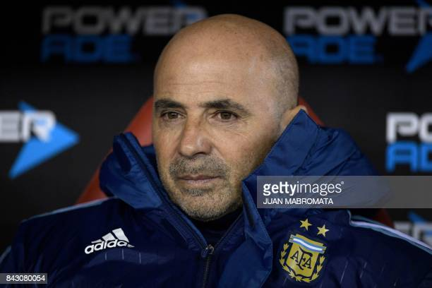 Argentina's coach Jorge Sampaoli waitys for the start of the 2018 World Cup qualifier football match against Venezuela in Buenos Aires on September 5...