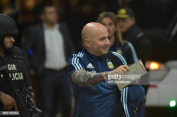 Argentina's coach Jorge Sampaoli walks upon arrival at a hotel in Guayaquil Ecuador on October 8 ahead of their FIFA World Cup 2018 qualifier...