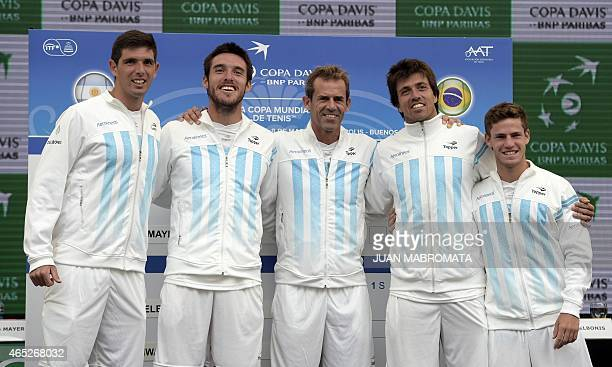 Argentina's Copa Davis team tennis players Federico Delbonis Leonardo Mayer captain Daniel Orsanic Carlos Berlocq and Diego Schwartzman pose during...