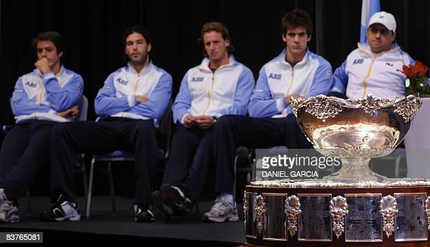 Argentina's Copa Davis tennis players Agustin Calleri Jose Acasuso David Nalbandian and Juan Martin Del Potro and team captain Alberto Mancini are...