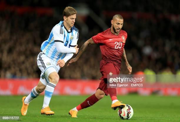 Argentina's Cristian Ansaldi and Portugal's Ricardo Quaresma battle for the ball