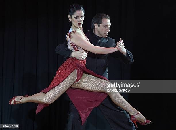 Argentina's dancers Hugo Mastrolorenzo and Agustina Vignau perform to reach the second position in the Stage Tango competition of the Tango World...