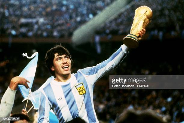 Argentina's Daniel Passarella holds up the trophy after beating The Netherlands in the final