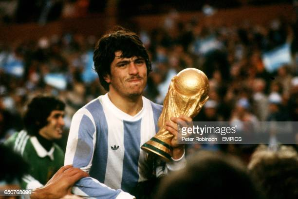 Argentina's Daniel Passarella with the trophy after beating the Netherlands