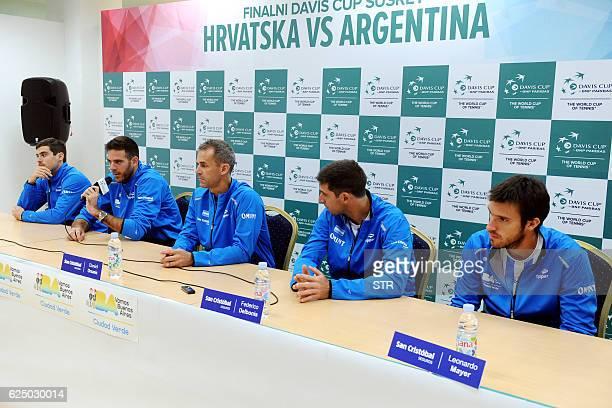 Argentina's Davis Cup team captain Daniel Orsanic holds a press conference with players Guido Pella Juan Martin Del Potro Federico Delbonis and...