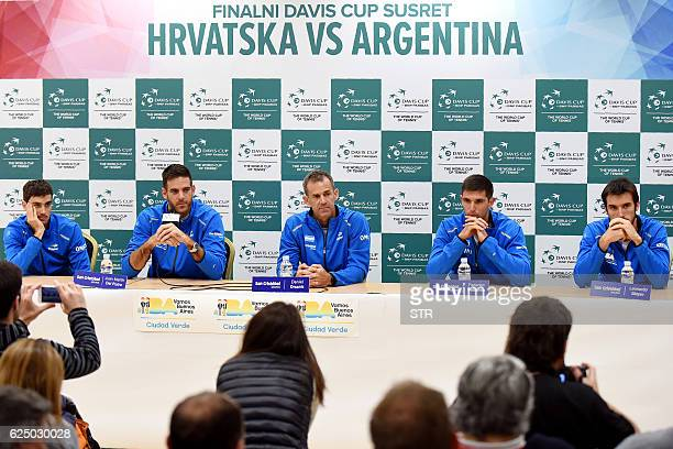 Argentina's Davis Cup team captain Daniel Orsanic holds a press conference with players Guido Pella Juan Martin Del Potro Federico Delbonis and...