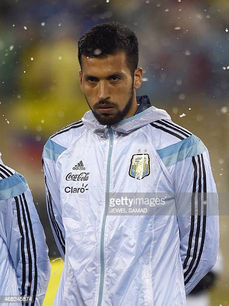 Argentina's defender Ezequiel Garay is pictured during an international friendly match against Ecuador at MetLife Stadium in East Rutherford New...