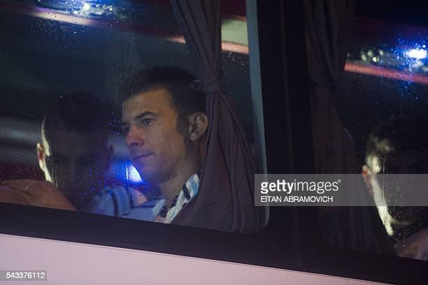 Argentina's defender Victor Cuesta and midfielder Erik Lamela arrive at AFA's training camp in Ezeiza on June 27 2016 Argentina lost the final...