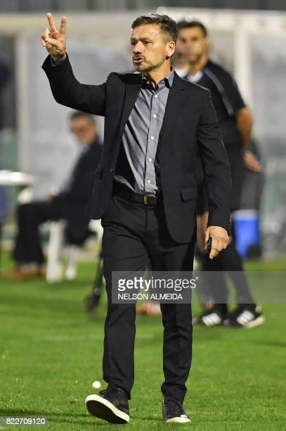 Argentina's Defensa y Justicia team coach Sebastian Beccacece gestures during their 2017 Copa Sudamericana football match against Brazils Chapecoense...