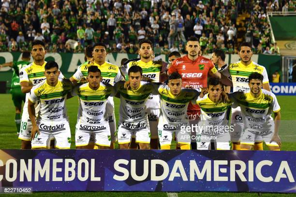 Argentina's Defensa y Justicia team players pose for pictures before their 2017 Copa Sudamericana football match against Brazils Chapecoense held at...