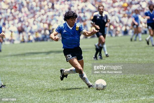 Argentina's Diego Maradona during the 1986 FIFA World Cup quarter finals against England Argentina won 21