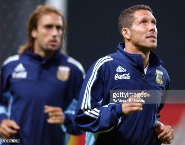 Argentina's Diego Simeone and Gabriel batistuta during training at the Sapporo Dome Sapporo Japan Argentina play their second match of the World Cup...