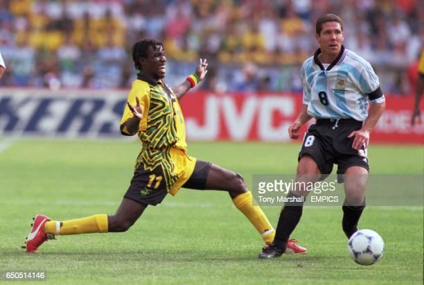 Argentina's Diego Simeone gets away Jamaica's Theodore Whitmore