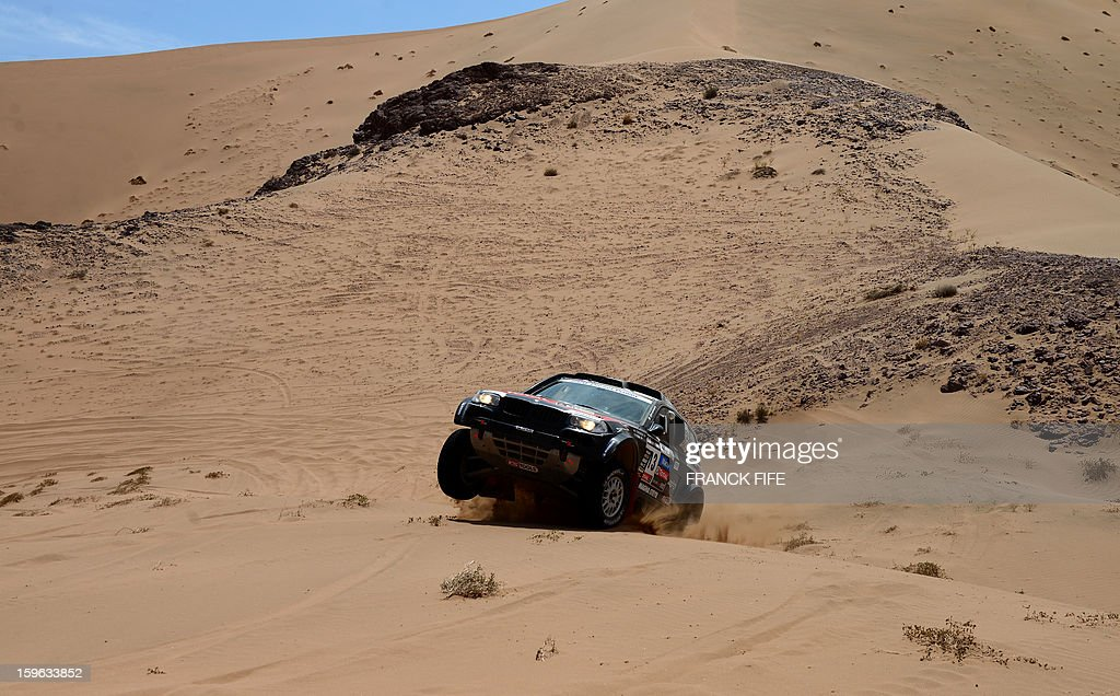 Argentina's driver Orlando Terranova steers his BMW during the Stage 12 of the 2013 Dakar Rally between Fiambala in Argentina and Copiapo in Chile, on January 17, 2013. The rally is taking place in Peru, Argentina and Chile from January 5 to 20.