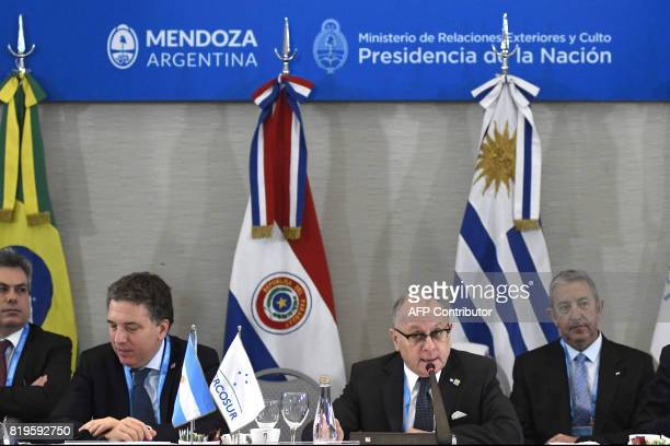 Argentina's Economy minister Nicolas Dujovne and Foreign Minister Jorge Faurie are pictured during the opening of the Mercosur Summit in Mendoza 1050...