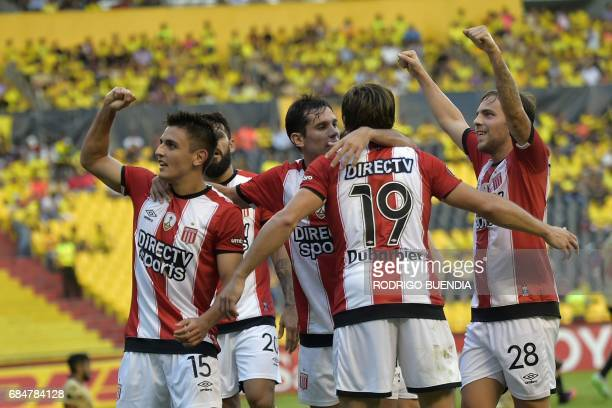 Argentina's Estudiantes de la Plata player Juan Cavallaro celebrates with teammates a goal scored against Ecuador's Barcelona during their 2017 Copa...