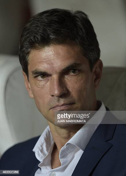 Argentina's Estudiantes de La Plata's coach Mauricio Pellegrino looks on during the Copa Libertadores 2015 first stage second leg football match...