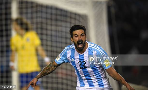 Argentina's Ezequiel Lavezzi celebrates after scoring against Brazil during their Russia 2018 FIFA World Cup South American Qualifiers football match...