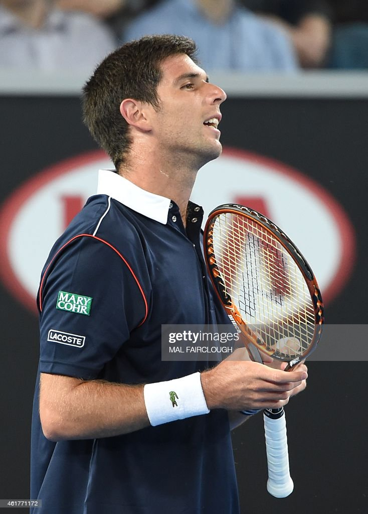 Argentina's <a gi-track='captionPersonalityLinkClicked' href=/galleries/search?phrase=Federico+Delbonis&family=editorial&specificpeople=8904860 ng-click='$event.stopPropagation()'>Federico Delbonis</a> reacts as he plays against Australia's Nick Kyrgios during their men's singles match on day one of the 2015 Australian Open tennis tournament in Melbourne on January 19, 2015.