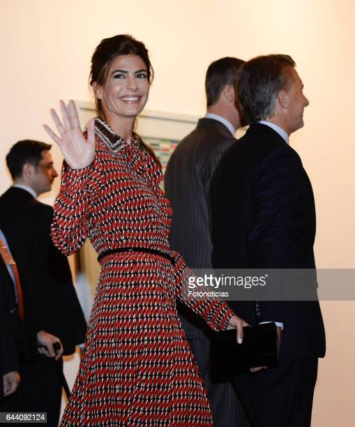 Argentina's First Lady Juliana Awada and Argentina's President Mauricio Macri attend the opening of ARCO 2017 at IFEMA on February 23 2017 in Madrid...