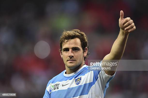 Argentina's fly half Nicolas Sanchez gies the thumbs up after a Pool C match of the 2015 Rugby World Cup between New Zealand and Argentina at Wembley...