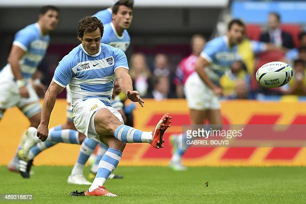 Argentina's fly half Nicolas Sanchez kicks a penalty during a Pool C match of the 2015 Rugby World Cup between New Zealand and Argentina at Wembley...