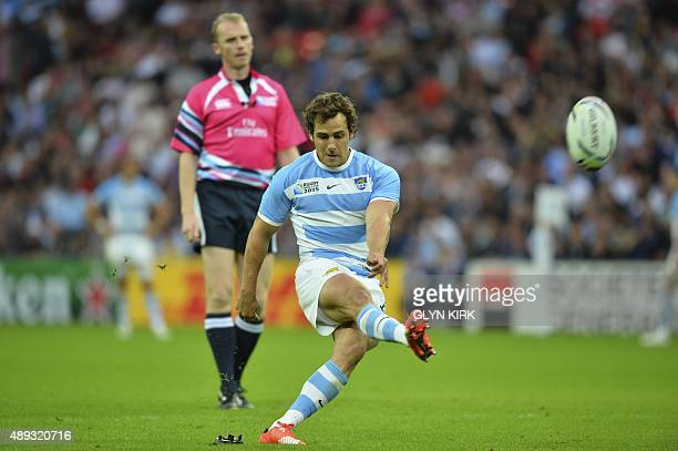 Argentina's fly half Nicolas Sanchez kicks the ball during a Pool C match of the 2015 Rugby World Cup between New Zealand and Argentina at Wembley...