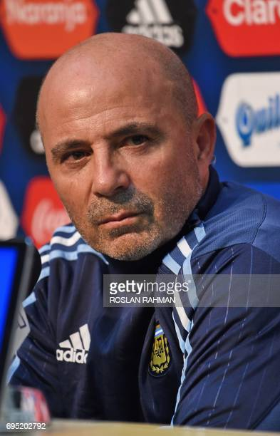 CORRECTION Argentina's football team coach Jorge Sampaoli attends a prematch press conference at the National Stadium in Singapore on June 12 2017...