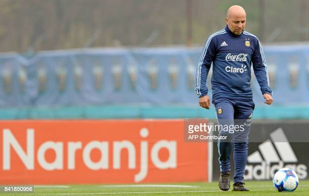 Argentina's football team coach Jorge Sampaoli is pictured during a training session in Ezeiza Buenos Aires on September 2 2017 ahead of a 2018 FIFA...