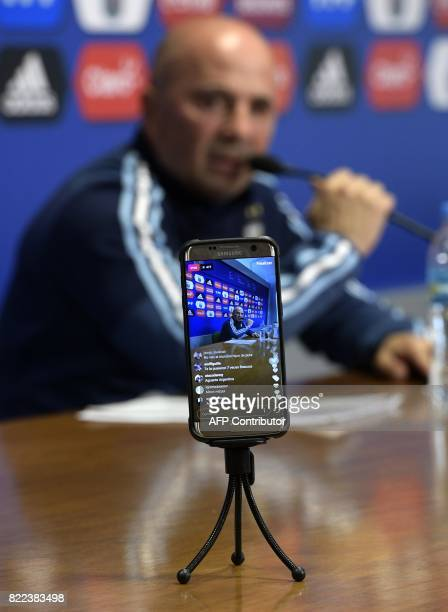 Argentina's football team coach Jorge Sampaoli speaks during a press conference in Ezeiza Buenos Aires on July 25 2017 Sampaoli will travel to Europe...