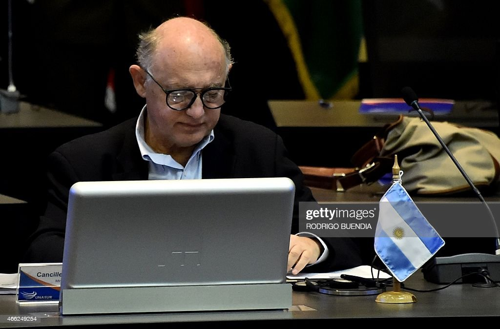 Argentina's Foreign Minister <a gi-track='captionPersonalityLinkClicked' href=/galleries/search?phrase=Hector+Timerman&family=editorial&specificpeople=6769851 ng-click='$event.stopPropagation()'>Hector Timerman</a> takes part in the UNASUR meeting in Quito, on March 14, 2015. Ecuador called for an UNASUR special meeting to analize the US sanctions on Venezuela and dennounces of destabilization of the government of President Nicolas Maduro.