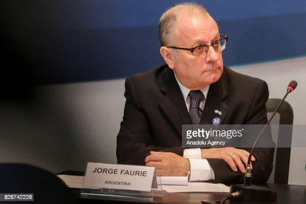 Argentina's Foreign Minister Jorge Faurie attends a meeting on South American trade bloc Mercosur to suspend Venezuela for failing to follow...