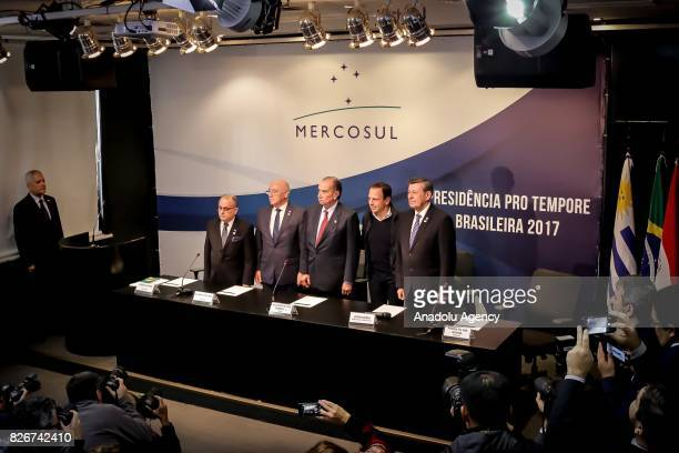 Argentina's Foreign Minister Jorge Faurie Paraguay's Foreign Minister Eladio Loizaga Brazil's Foreign Minister Aloysio Nunes Sao Paulo's Mayor Joao...