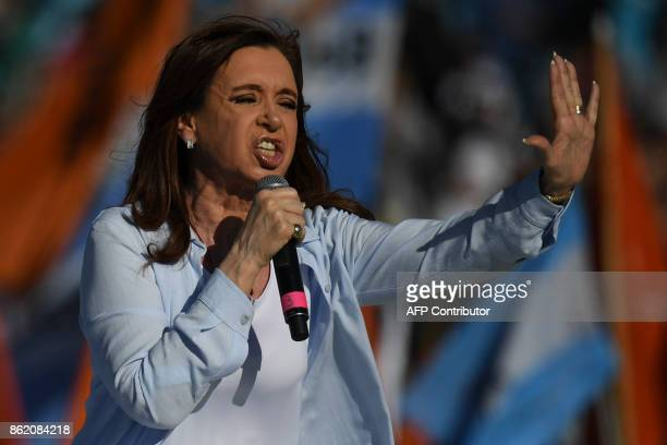 Argentina's former President and Buenos Aires senatorial candidate for the Unidad Ciudadana Party Cristina Fernandez de Kirchner delivers a speech at...