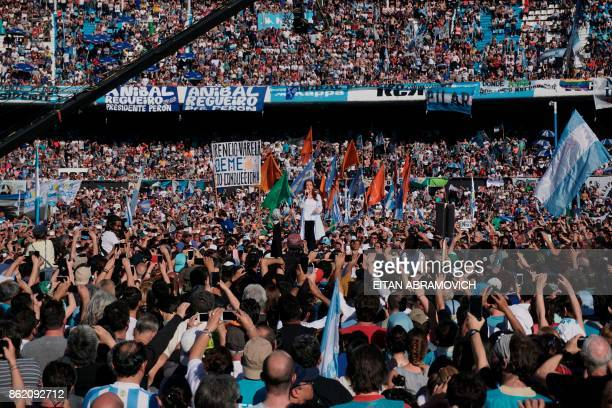 TOPSHOT Argentina's former President and Buenos Aires senatorial candidate for the Unidad Ciudadana Party Cristina Fernandez de Kirchner delivers a...