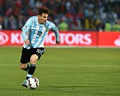 Argentina's forward Lionel Messi controls the ball during the 2015 Copa America final football match against Chile in Santiago Chile on July 4 2015...