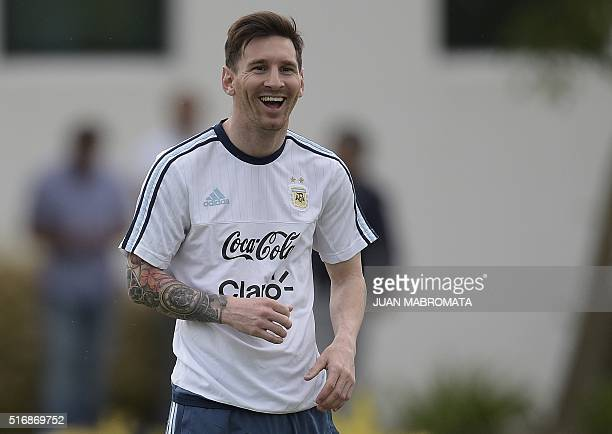 Argentina's forward Lionel Messi gestures during a training session in Ezeiza Buenos Aires on March 21 2016 ahead of a 2018 FIFA World Cup Russia...