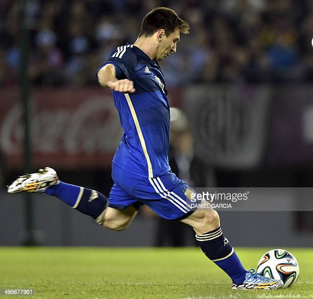 Argentina's forward Lionel Messi in action during a friendly match against Trinidad and Tobago at the Monumental stadium in Buenos Aires Argentina on...