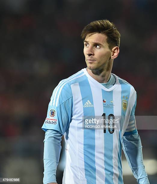 Argentina's forward Lionel Messi is seen during their 2015 Copa America football championship final against Chile in Santiago Chile on July 4 2015...