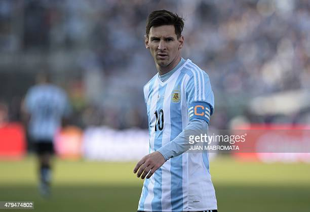 Argentina's forward Lionel Messi looks on during the 2015 Copa America final football match against Chile in Santiago Chile on July 4 2015 AFP PHOTO...