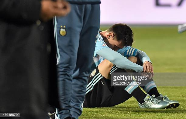 Argentina's forward Lionel Messi reacts at the end of the 2015 Copa America football championship final in Santiago Chile on July 4 2015 Chile...