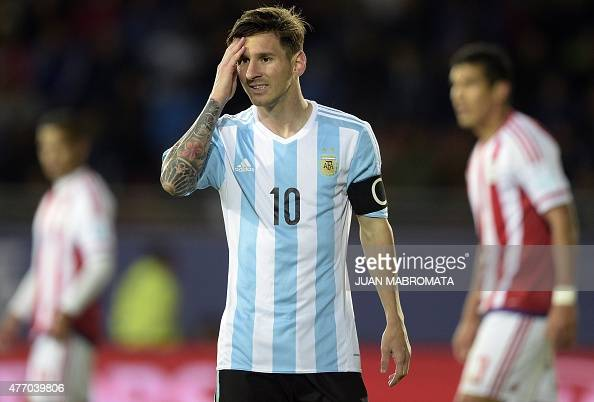 Argentina's forward Lionel Messi reacts during their 2015 Copa America football championship match against Paraguay in La Serena on June 13 2015 AFP...