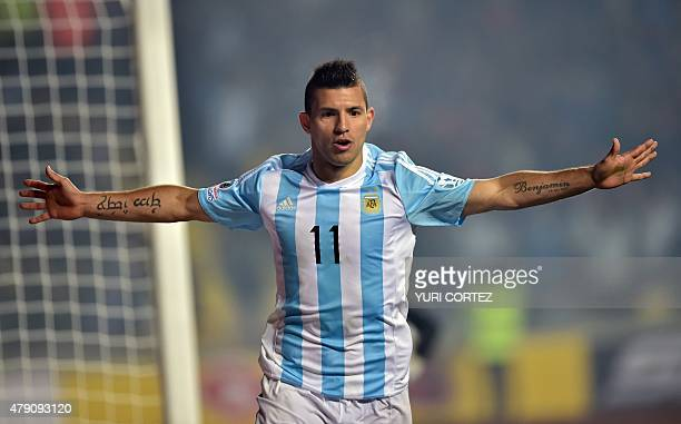 Argentina's forward Sergio Aguero celebrates his goal against Paraguay during their Copa America semifinal football match in Concepcion Chile on June...