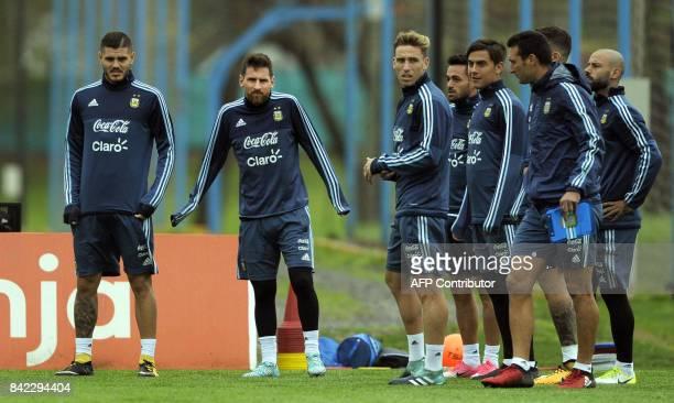 Argentina's forwards Lionel Messi and Mauro Icardi midfielder Lucas Biglia forward Paulo Dybala forward Lautaro Acosta and defender Javier Mascherano...