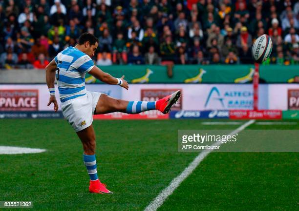 Argentina's fullback Joaquin Tuculet kicks the ball upfield during the International Rugby Test match between Argentina and South Africa at The...