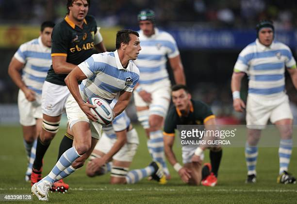 Argentina's fullback Juan Imhoff clears the ball during the Rugby Championship Test match between South Africa and Argentina at Kings Park stadium in...